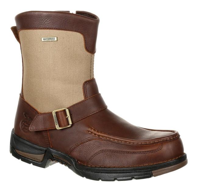 """Georgia Boot Athens 8"""" Brown Waterproof Side-Zip Boot"""