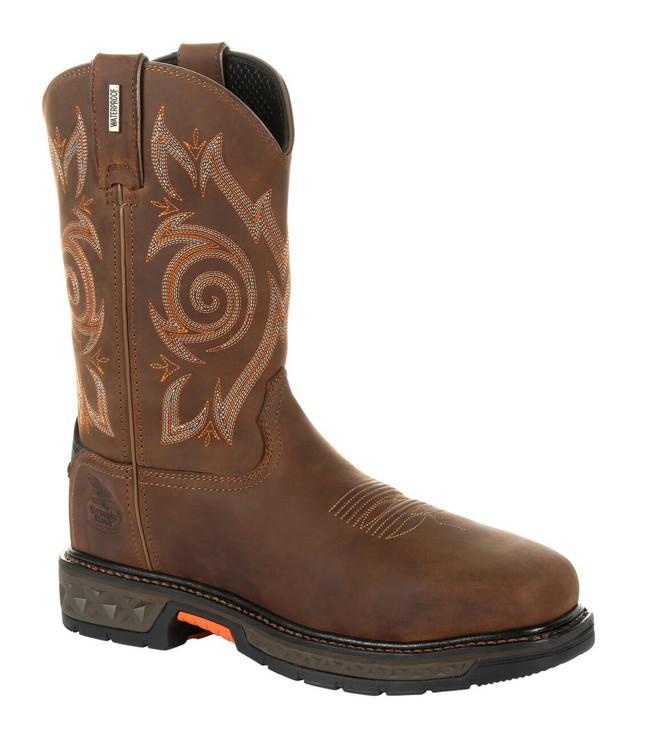 """Georgia Boot Carbo-Tec LT 11"""" Brown Waterproof Steel Toe Pull-On Boot"""