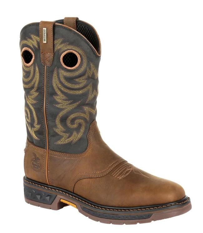 """Georgia Boot Carbo-Tec LT 11"""" Brown/Black Waterproof Pull-On Boot"""
