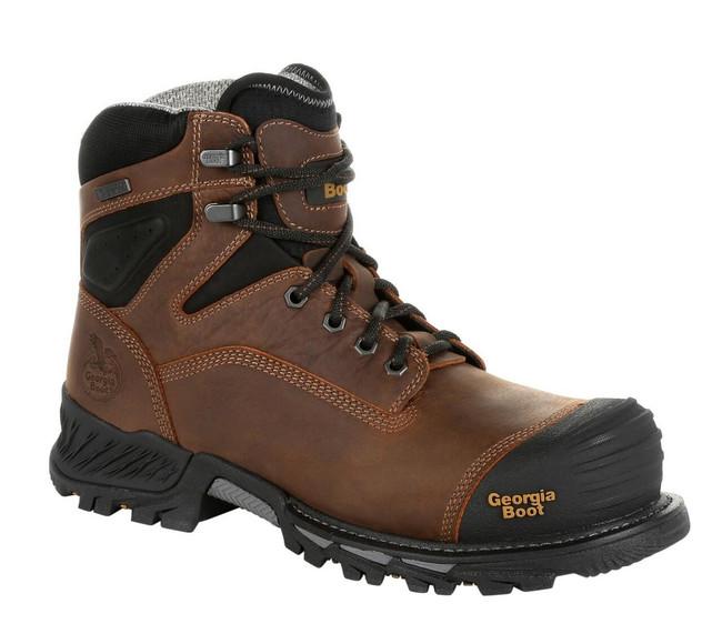 "Georgia Boot Rumbler 6"" Brown Waterproof Composite Toe Work Boot"