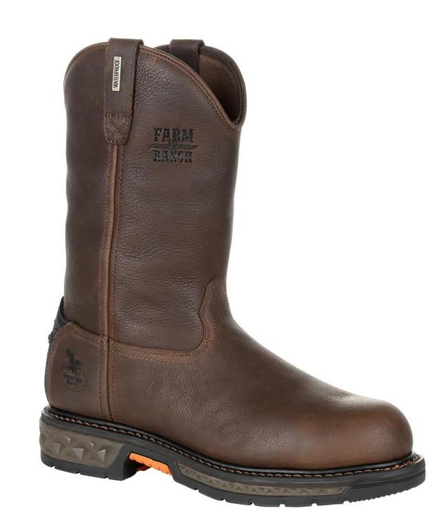 """Georgia Boot Carbo-Tec LT 11"""" Dark Brown Waterproof Steel Toe Pull-On Boot"""