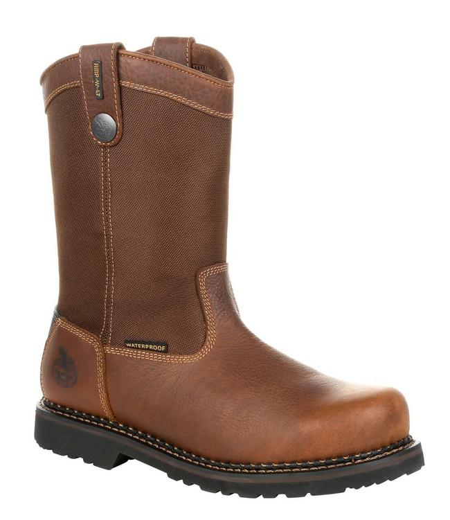 """Georgia Boot Giant Revamp 10"""" Brown Waterproof Steel Toe Pull-On Boot"""
