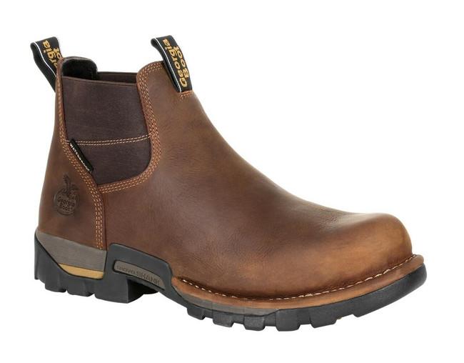 """Georgia Boot Eagle One 4"""" Brown Waterproof Steel Toe Chelsea Boot"""