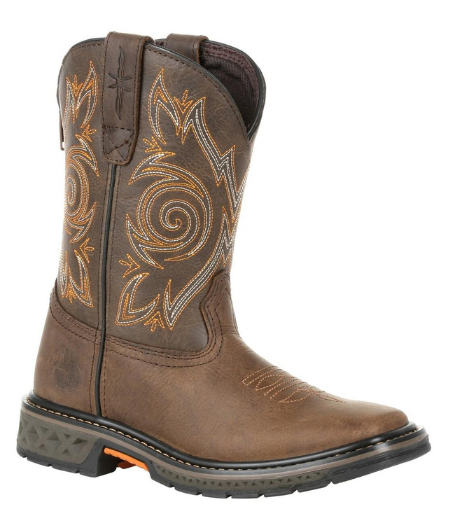 """Georgia Boot Little Kid's Carbo-Tec LT 8"""" Brown Pull-On Boot"""