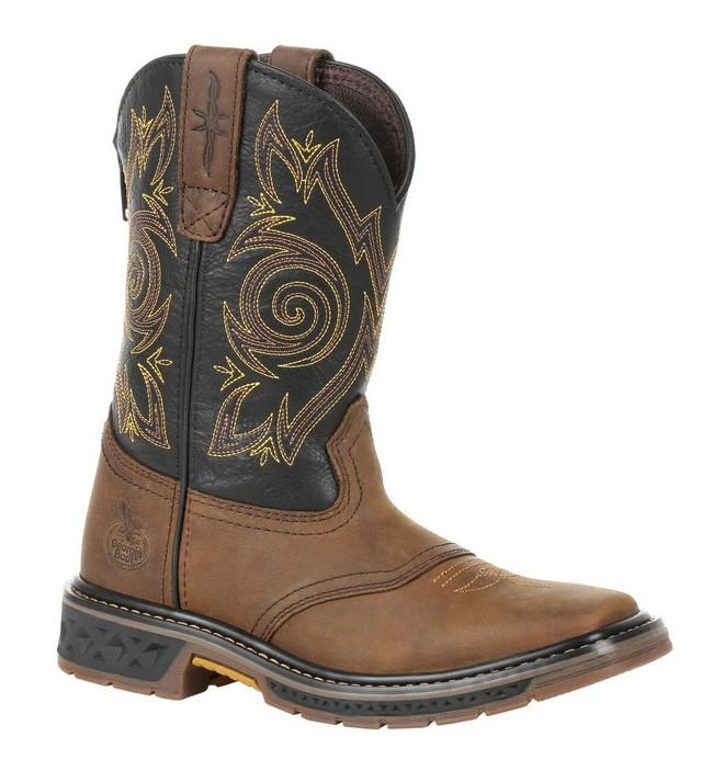 """Georgia Boot Little Kid's Carbo-Tec LT 8"""" Brown/Black Pull-On Saddle Boot"""