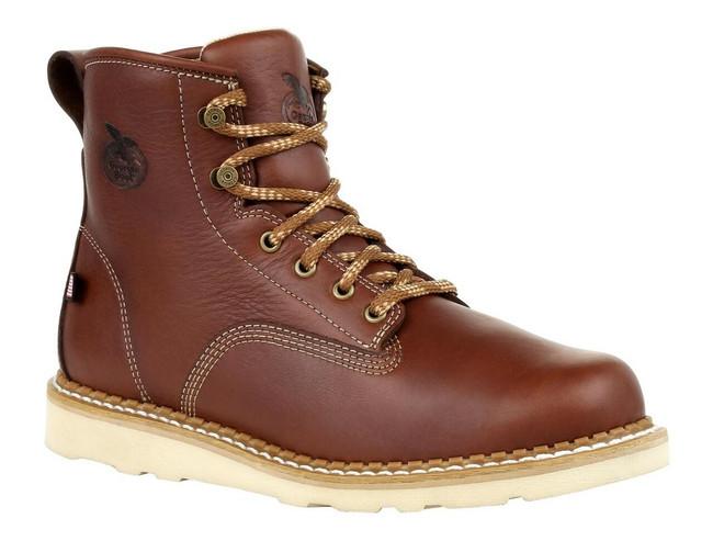 """Georgia Boot USA Wedge 6"""" Brown Steel Toe Work Boot"""