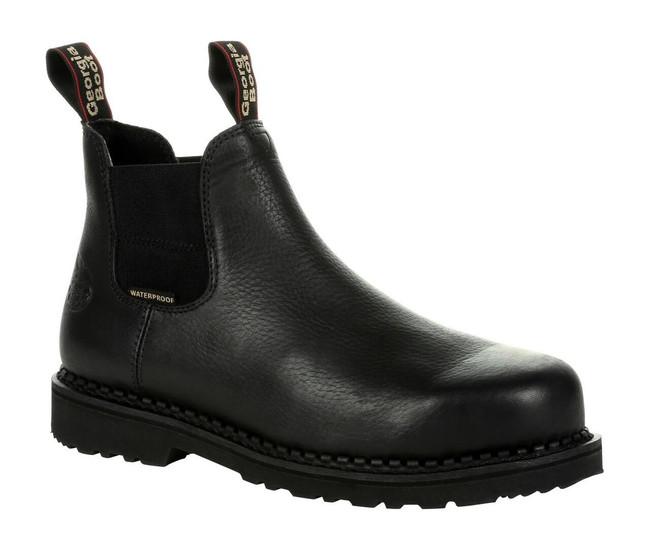 "Georgia Boot Giant Revamp 6"" Black Waterproof Chelsea Boot"
