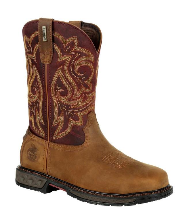 """Georgia Boot Carbo-Tec LT 10"""" Brown/Red Waterproof Steel Toe Women's Pull-On Boot"""