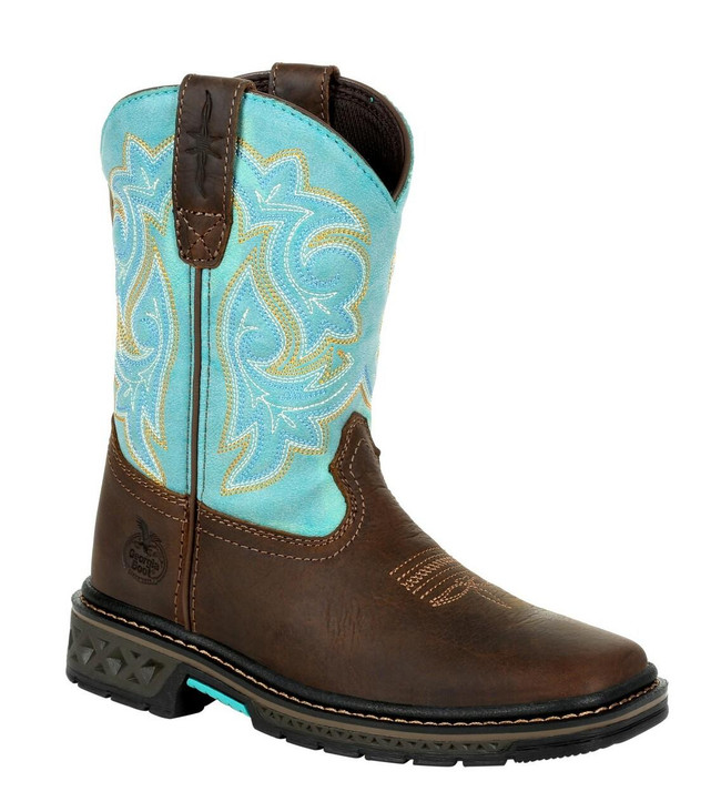 """Georgia Boot Little Kid's Carbo Tec LT 8"""" Brown/Green Pull-On Boot"""