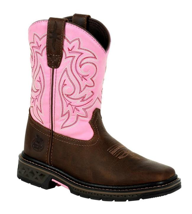 "Georgia Boot Big Kid's Carbo Tec LT 8"" Brown/Pink Pull-On Boot"