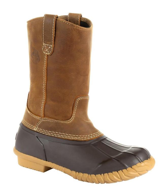 "Georgia Boot Marshland 10"" Brown Alloy Toe Pull-On Duck Boot"