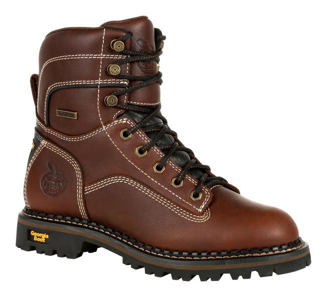 "Georgia Boot Logger 7"" Brown AMP LT Waterproof Alloy Toe Low Heel Women's Boot"