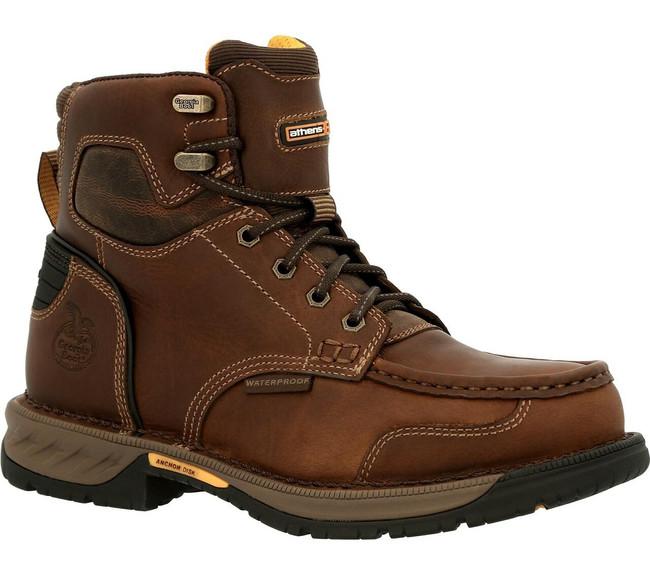 """Georgia Boot Athens 360 6"""" Brown Waterproof Moc Toe Boot"""