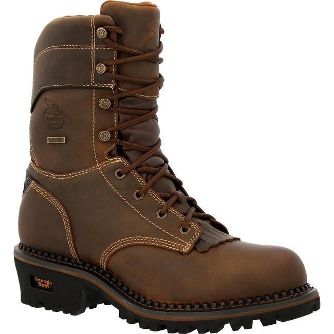 """Georgia Boot AMP LT Logger 9"""" Brown Waterproof Composite Toe Boot"""