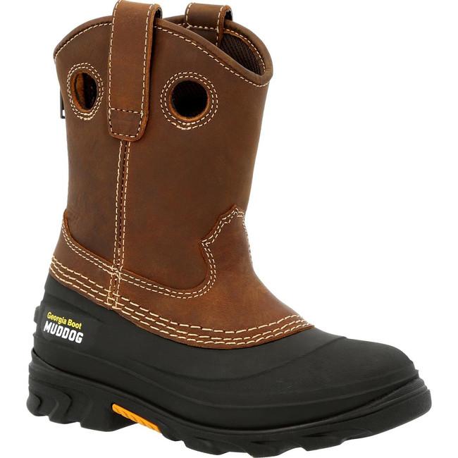 "Georgia Boot Big Kid's MudDog 8"" Brown Pull-On Boot"