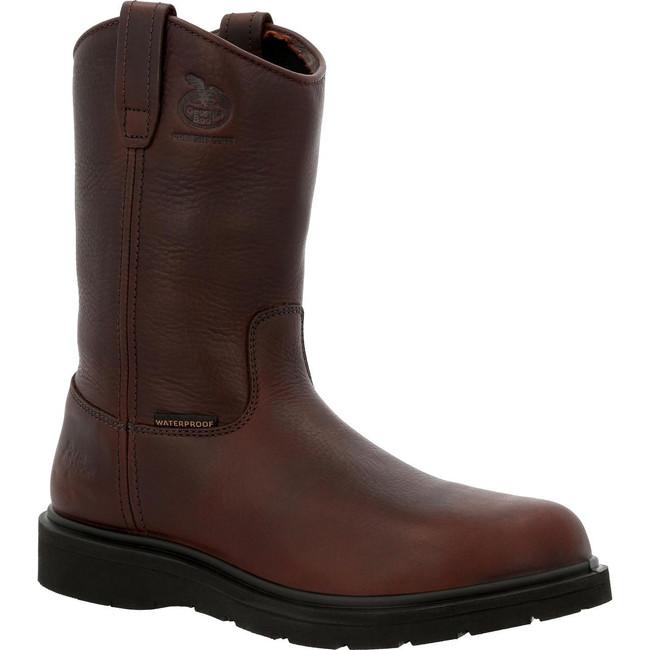 """Georgia Boot Wellington 11"""" Brown Waterproof Steel Toe Suspension Wedge Pull-On Boot"""