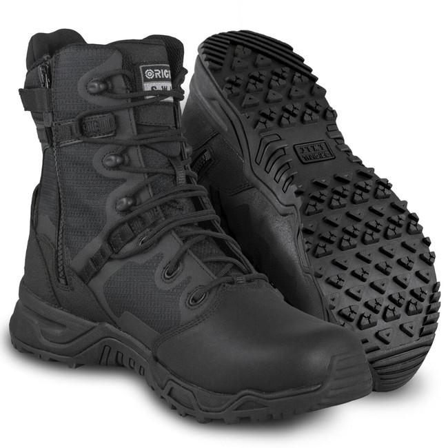 "Original S.W.A.T. Alpha Fury 8"" Black Side-Zip Polishable Toe Boot"