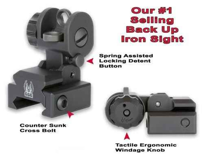 GGandG A2 Flip Up Rear Sight with Locking Detent BUIS 1005-GG 813157000034