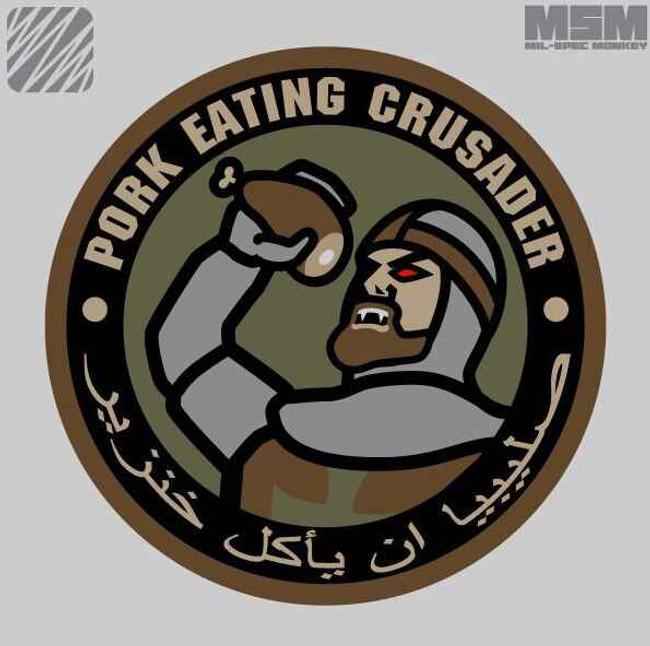 Mil-Spec Monkey Pork Eating Crusader Patch PORK