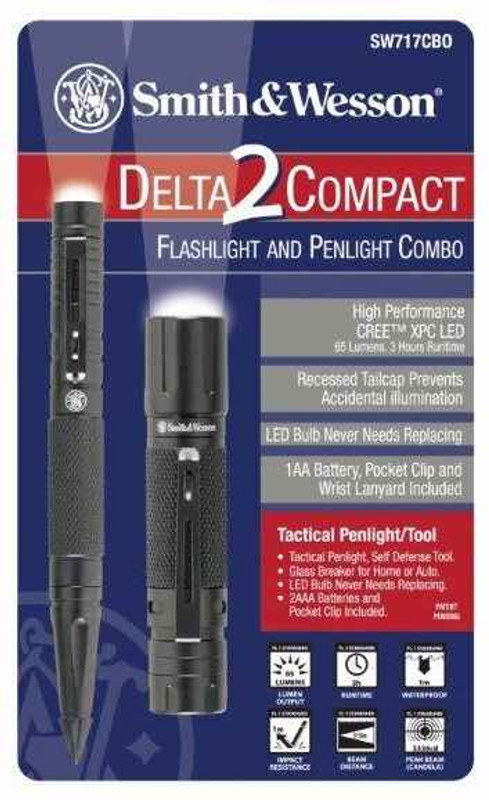 Smith and Wesson Delta2 Compact Flashlight and MicroTactical Flashlight Tool SW717CBO 813581007173