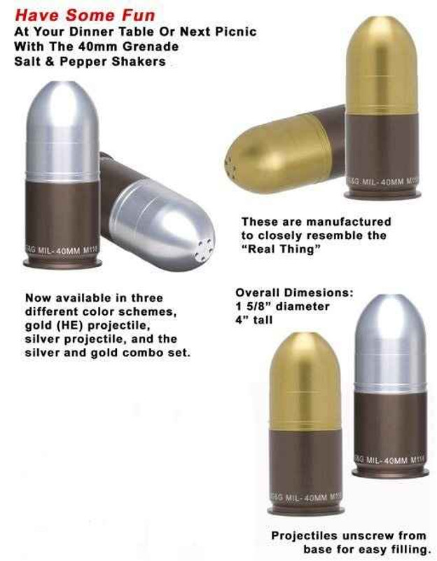 GGandG 40mm Grenade Salt and Pepper Shakers SP-GG