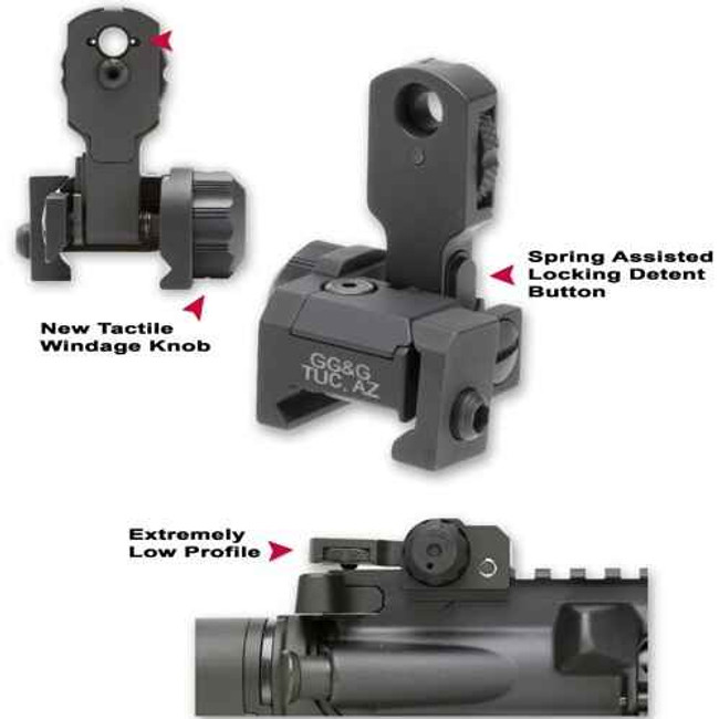 GGandG MAD Flip Up Rear Sight with Locking Detent BUIS 1006-GG 813157000096