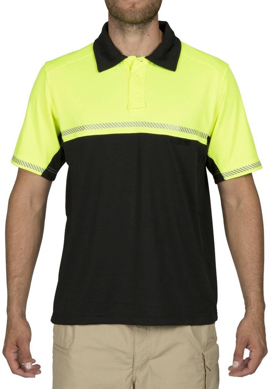 5.11 Tactical Men's Bike Patrol Short Sleeve Polo Shirt - High Vis Yellow