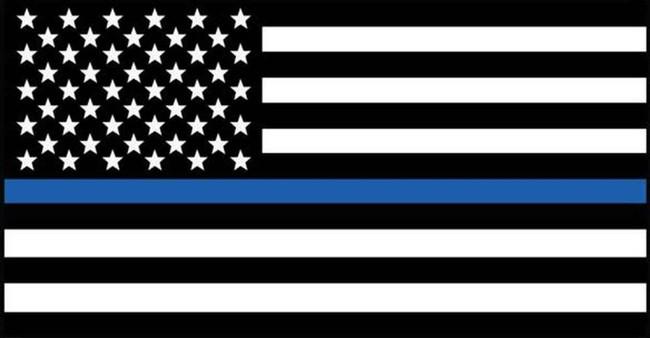 LA Police Gear Medium Thin Blue Line US Flag 3.25 x 1.75 Sticker FLAGSTICKER-TBLM