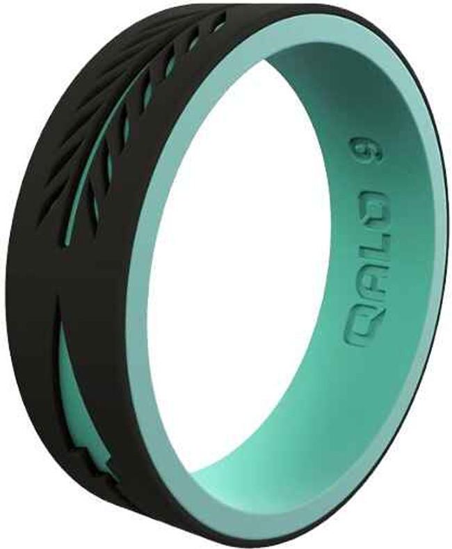 Qalo Womens Strata Black and Aqua Arrow Silicone Ring QS9-FOJ