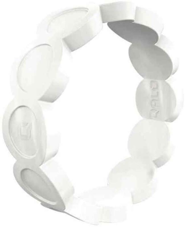 Qalo Womens Scallop Pearl Silicone Ring QS9-FSP