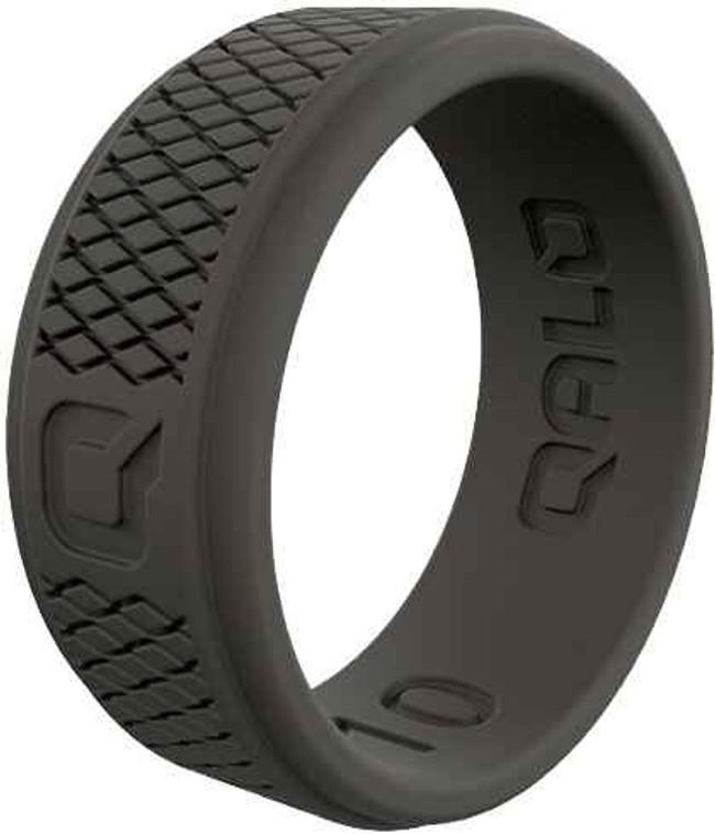 Qalo Mens Crosshatch Dark Grey Q2X Silicone Ring QS9-MHD