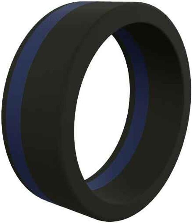 Qalo Mens Thin Blue Line Pinstripe Silicone Ring QS9-MPL