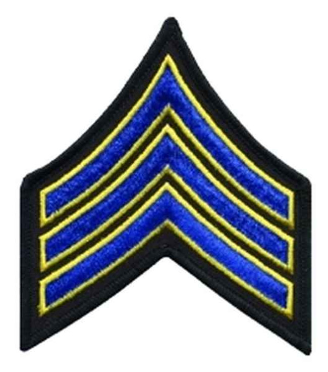 Heros Pride Sergeant 3.5 Chevron-Royal w/ Med Gold Edge on Black 5427S
