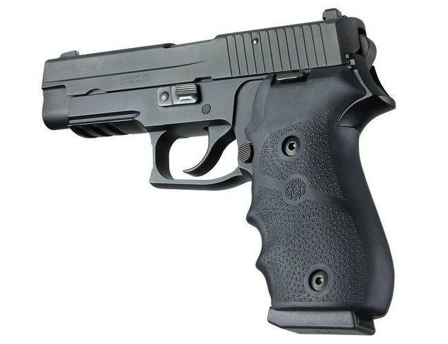 Hogue SIG P220 American DA/SA, DAK OverMolded Rubber Grip with Finger Grooves Black 10077 743108200001