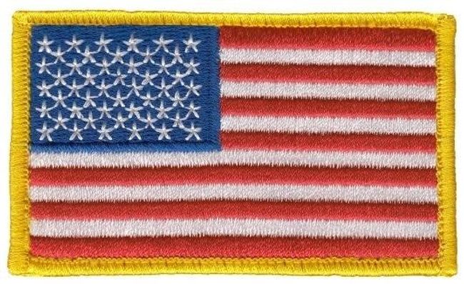 Heros Pride US FLAG - Med Gold Border - w/Hook HP-0002 849204004687 - LA Police Gear