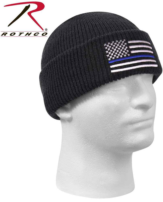 Rothco Thin Blue Line Flag Watch Cap 50342 613902503427