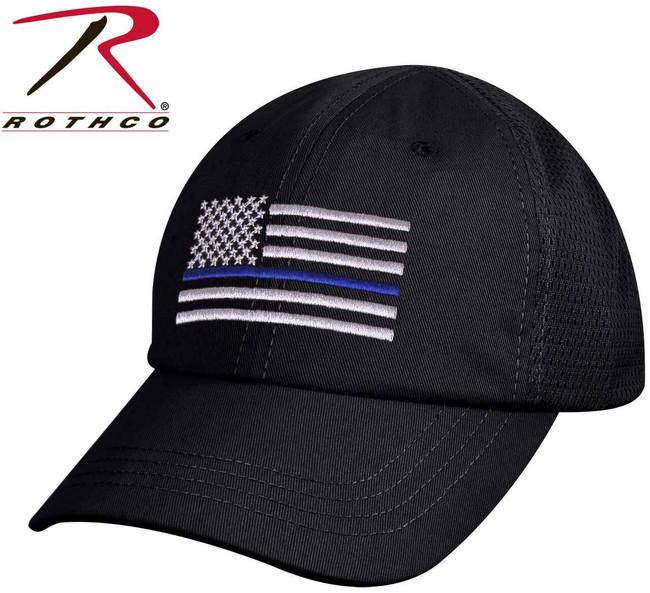 Rothco Black Mesh Back Thin Blue Line Flag Tactical Cap 9973 613902199736