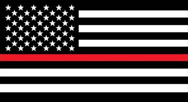 LA Police Gear Medium Thin Red Line Flag 3.25 x 1.75 Sticker FLAGSTICKER-TRLM