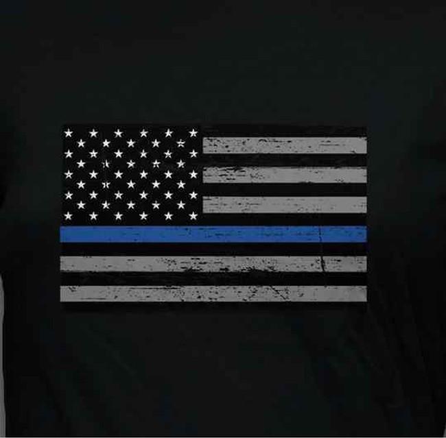 Ranger Up Womens Thin Blue Line Flag T-Shirt RU826