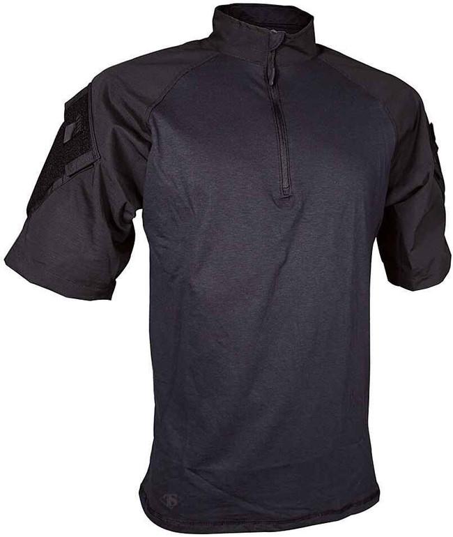 TRU-SPEC Men's Short Sleeve 1/4 Zip Combat Shirt black front