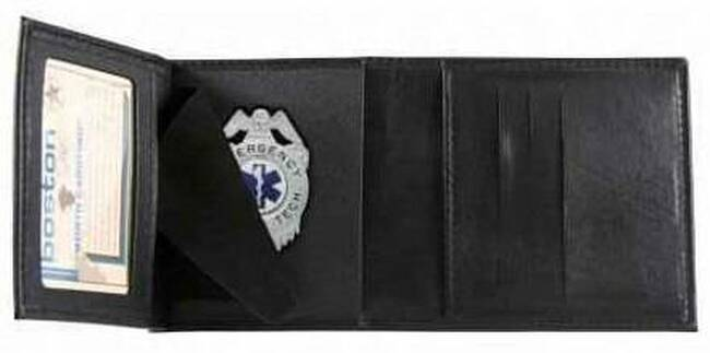 Boston Leather 375 Tri-fold Badge Wallet with CC Slots 375-S