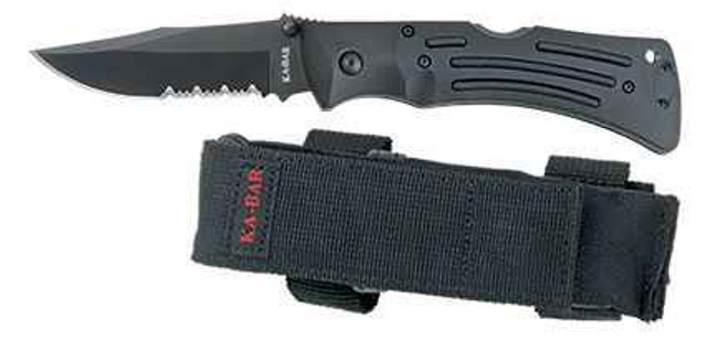 Ka-Bar Knives Black Mule Folder Serrated Edge 3051-KB 617717230516