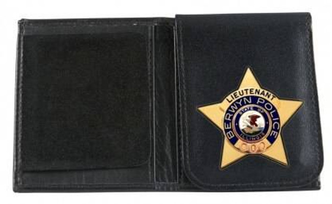 Boston Leather 575 Badge Wallet with Flip Up Badge Holder 575-S