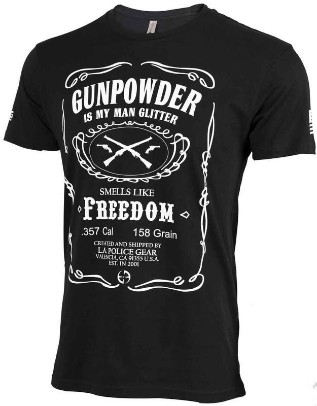 LA Police Gear Mens Gunpowder is My Man Glitter T- Shirt TS-MAN-GLITTER