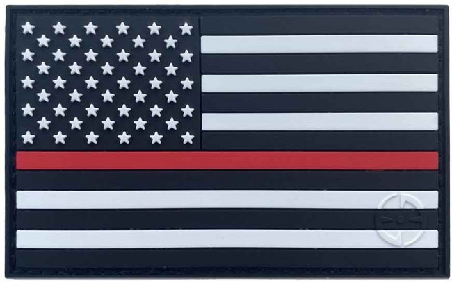 LA Police Gear Thin Red Line PVC US Flag Patch PATCH-THIN-RED