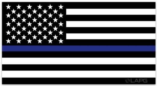 LA Police Gear Large Thin Blue Line US Flag 5.7 x 3 Sticker FLAGSTICKER-TBL