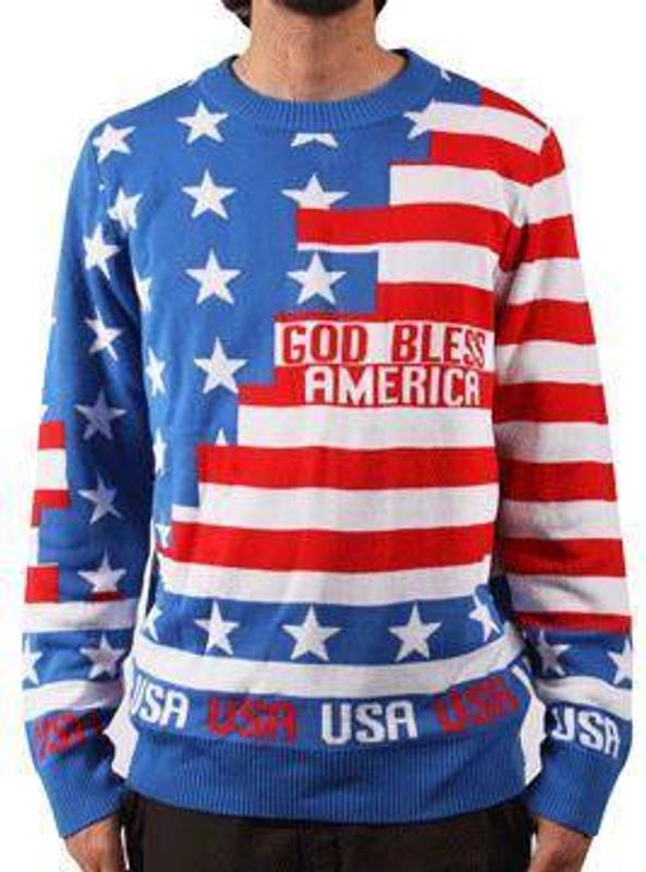 LA Police Gear American Flag Christmas Sweater CS-FLAG