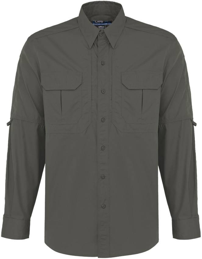 LA Police Gear Men's Long Sleeve Tactical Field Shirt 2.0   Black   Large   Cotton/Polyester