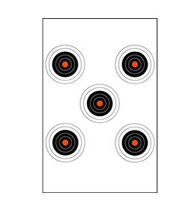 Law Enforcement Targets, Inc. 5 Bullseye Target with Orange Centers - Minimum Quantity of 25 |