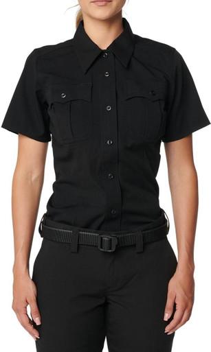 5.11 Tactical Women's Flex-Tac Poly/Wool Twill Class A Short Sleeve Shirt 61315 | Silver Tan | X-Small | Polyester/Wool | LAPoliceGear.com